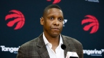 Toronto Raptors President Masai Ujiri speaks about acquiring Kawhi Leonard in a trade at a media availability in Toronto, Friday, July 20, 2018. (Mark Blinch / THE CANADIAN PRESS)
