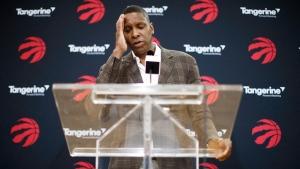 Toronto Raptors President Masai Ujiri speaks about acquiring Kawhi Leonard in a trade at a media availability in Toronto, Friday, July 20, 2018. THE CANADIAN PRESS/Mark Blinch