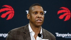 Toronto Raptors President Masai Ujiri speaks about acquiring player Kawhi Leonard in Toronto, Friday July 20, 2018. THE CANADIAN PRESS/Mark Blinch