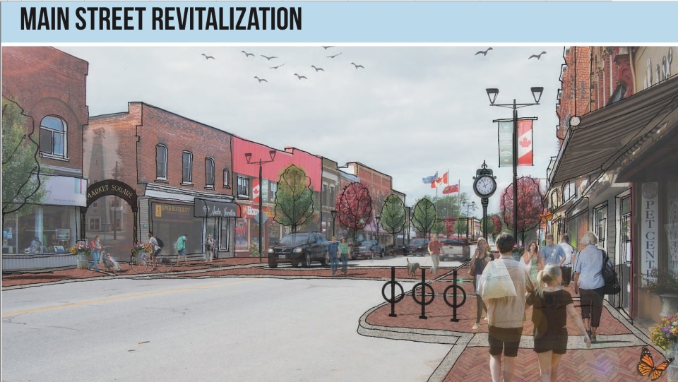 Concept drawing of Stayner, Ont. main street revitalization. (Courtesy: Clearview Township)