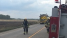 Fire fighters responded to a call for a fire in a hay field in St. Jacobs.