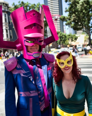 Steve and Michelle Gormally, from Atlanta, dress as Galactus and Marvel Girl for Comic-Con International on Thursday, July 19, 2018, in San Diego. (AP / Richard Vogel)