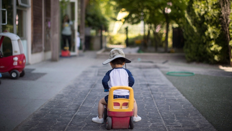 A young boy plays at a daycare, in Langley, B.C., on Tuesday May 29, 2018. (THE CANADIAN PRESS/Darryl Dyck)