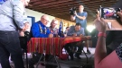 Minister of Crown-Indigenous Relations Carolyn Bennett and Glen McCallum, president of Metis Nation-Saskatchewan, sign an agreement in Batoche on Friday, July 20, 2018. (Stephanie Villella/CTV Saskatoon)