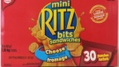Mondelez Canada is recalling cheese and pizza flavoured Ritz Bitz sandwiches. (Source: Canadian Food Inspection Agency)