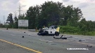 One female is dead following a single-vehicle collision on Highway 403 near Winston Churchill Boulevard. (PHOTO: OPP Sgt. Kerry Schmidt)