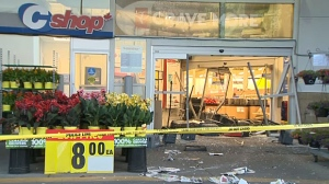 Thieves drove a vehicle through an entrance of the Superstore in Signal Hill early Saturday and stole an ATM.