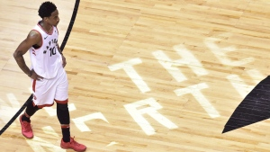 Toronto Raptors guard DeMar DeRozan (10) walks off the court after taking a loss in OT second round NBA playoff basketball action against the Cleveland Cavaliers in Toronto on Tuesday, May 1, 2018. (THE CANADIAN PRESS/Frank Gunn)