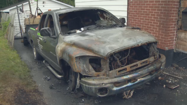 A Dartmouth family believes they have been the target of foul play after the truck was lit on fire early Saturday morning.