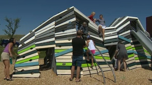 The new playground at Ralph Klein Park in southeast Calgary was built to help foster child development and learning.