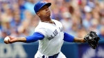 Toronto Blue Jays starting pitcher Marcus Stroman (6) fields a ball against the Baltimore Orioles during second inning American League baseball action in Toronto on Saturday, July 21, 2018. (THE CANADIAN PRESS/Frank Gunn)