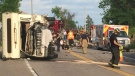 One person suffers critical injuries after crash on Highway 12 in Ramara Township on July 21, 2018.