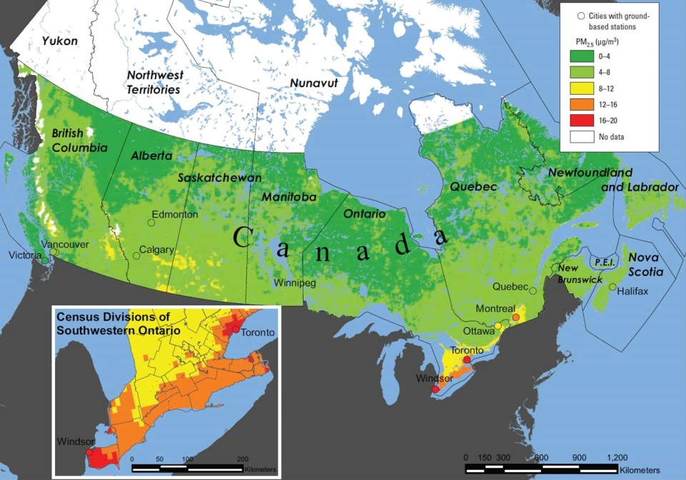Mean satellite-derived estimates of PM2.5 across Canada, 2001-2006, and the mean concentrations in 11 cities. PM2.5 denotes atmospheric particulate matter with a diameter of under 2.5 micrometres. (Supplied by Paul Villeneuve)