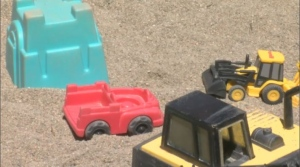 The community box in Verdun is reserved for toys that are safe for use in the sand or on the grass – anything from trucks and balls, to shovels and Frisbees. (CTV Montreal)