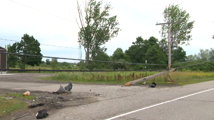 A hydro pole was snapped in half during a rollover in Guelph. (July 21, 2018)
