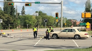 A motorcyclist is dead after a collision with a vehicle at the intersection of 75 Street and 101 Avenue on Sunday, July 22, 2018.