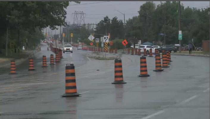 Pylons create a pop-up bike lane