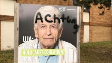 Toronto police are investigating after the United Jewish Appeal Federation said one of its lawn signs was vandalized over the weekend. (UJA Federation/ Twitter)