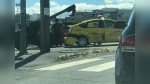 An artillery gun broke loose from a military vehicle and struck a taxi in Nanaimo, B.C. on July 21, 2018.
