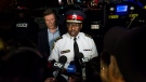 Toronto Mayor John Tory and police chief Mark Saunders speaks to press following a mass casualty event in Toronto on Sunday, July 22, 2018. (THE CANADIAN PRESS/Christopher Katsarov)