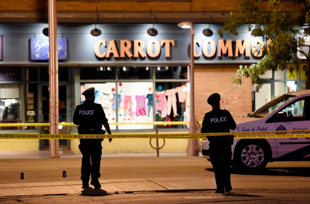 First responders arrive at the scene of a Toronto shooting