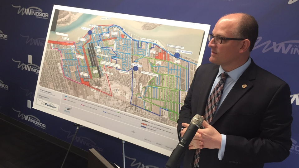 Windsor Mayor Drew Dilkens talks about the city's plan to invest $89 million in sewer upgrades in Windsor, Ont., on Monday, July 23, 2018. (Sacha Long / CTV Windsor)