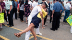 Leading Seaman Daniel Laplante and Melissa Epp kiss on the jetty as HMCS St. John's, one of Canada's Halifax-class frigates, returns to port in Halifax on Monday, July 23, 2018. THE CANADIAN PRESS/Andrew Vaughan