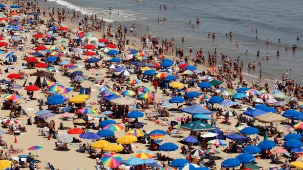 Crowded beach in Ocean City, Md.