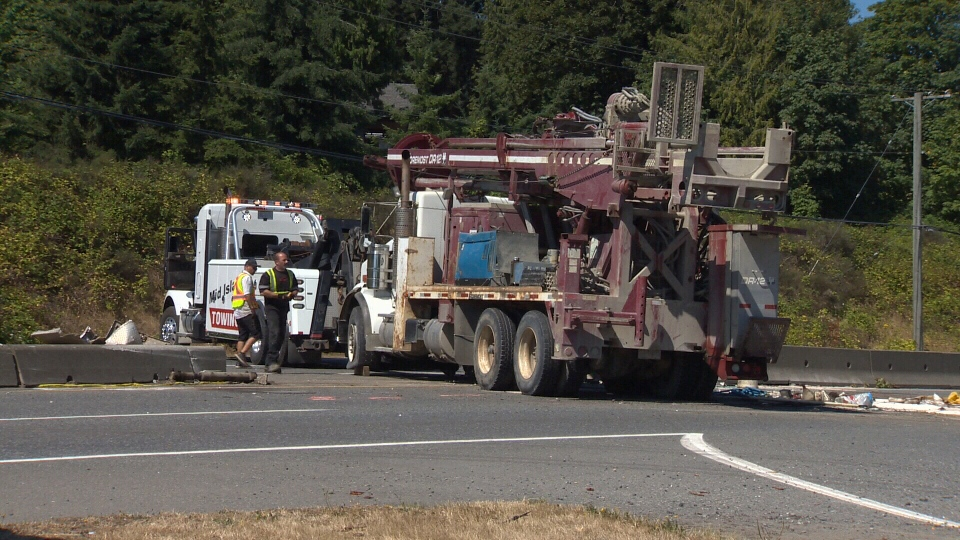 A crash on the Trans-Canada Highway in Ladysmith locked up traffic for hours early Monday morning. July 23, 2018. (CTV Vancouver Island)