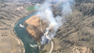 A wildfire just north of Spences Bridge, B.C. forced officials to close Highway 1 in both directions on Monday afternoon. (Twitter/BC Wildfire Service)