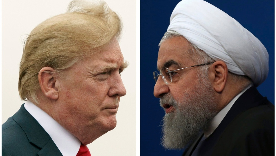 This combination of two pictures shows U.S. President Donald Trump, left, on July 22, 2018, and Iranian President Hassan Rouhani on Feb. 6, 2018. (AP Photo)