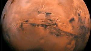 This composite photo, created from over 100 images of Mars taken by Viking Orbiters in the 1970s, made available by NASA shows the planet Mars. (NASA via AP)