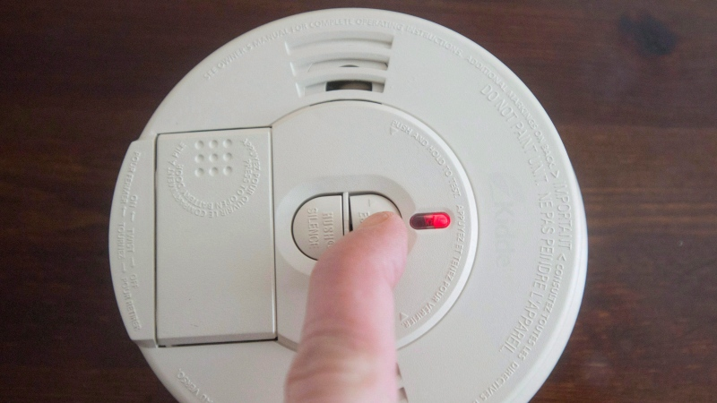 A smoke detector is tested Friday, March 9, 2018 in Montreal. (THE CANADIAN PRESS/Ryan Remiorz)