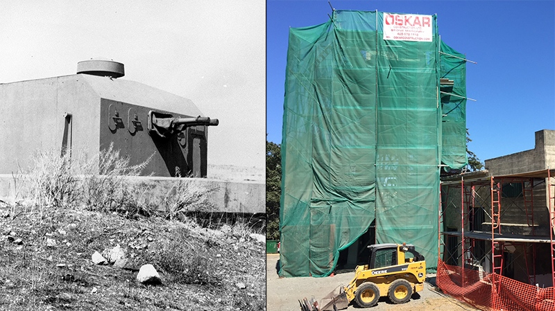 Then and now: Originally built over one hundred years ago, Fort Rodd was updated during World War Two as part of the coastal defence system. (Photo on left courtesy Fort Rodd Hlil Collection)