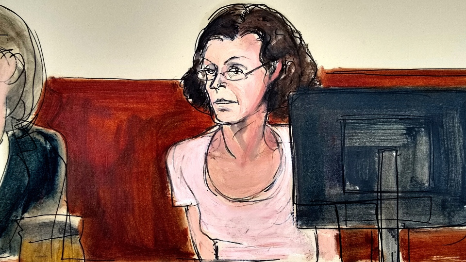 In this courtroom drawing, Clare Bronfman, is arraigned at federal court in New York, Tuesday, July 24, 2018. (AP / Elizabeth Williams)