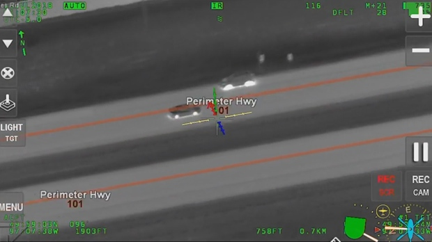 Photo taken from supplied footage of the chase taken from the Winnipeg Police Service helicopter.