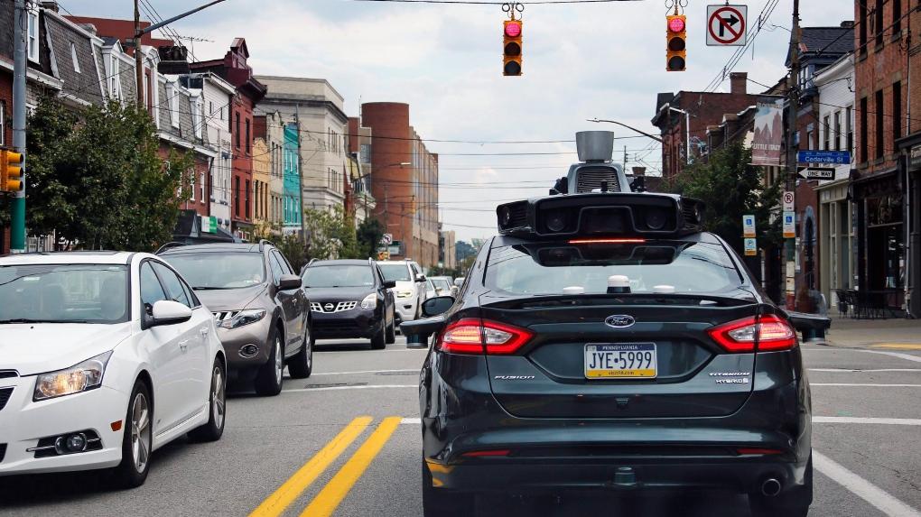 self-driving Uber car in Pittsburgh