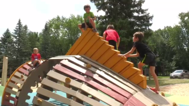 Kids on a play structure