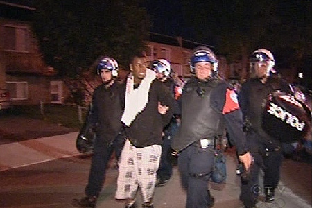 Police made nine arrests on Tuesday night after they were called to Montreal North by residents. (June 16, 2009)