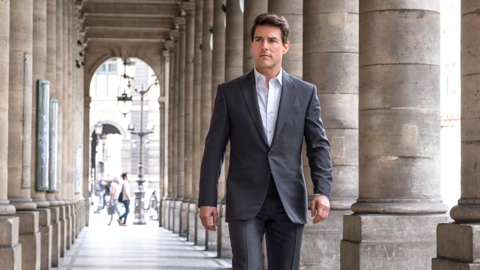 "This image released by Paramount Pictures shows Tom Cruise in a scene from ""Mission: Impossible - Fallout."" (David James/Paramount Pictures and Skydance via AP)"