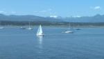 Looking at boats sailing in the Comox Bay towards the glacier. July 25, 2018. (CTV Vancouver Island)