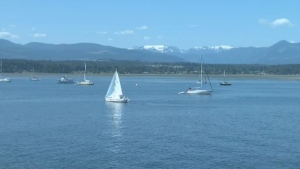 Looking at boats sailing in the Comox Bay towards the glacier. July 25, 2018. (CTV Vancouver Island)