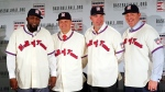 In this Jan. 25, 2018, file photo, Baseball Hall of Fame inductees, from left, Vladimir Guerrero, Trevor Hoffman, Chipper Jones and Jim Thome, pose during a news conference in New York. Induction ceremonies will be Sunday, July 29, 2018. (AP Photo/Frank Franklin II, File)
