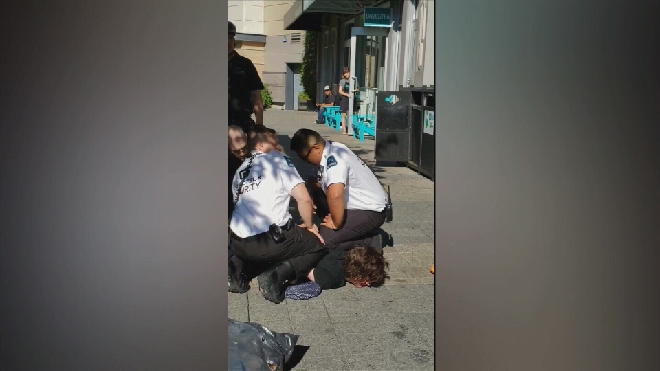In a nearly four-minute video posted to Facebook, three security guards are seen arresting a man who had been carrying a garbage bag full of cans at Uptown Shopping Centre. July 26, 2018. (CTV Vancouver Island)