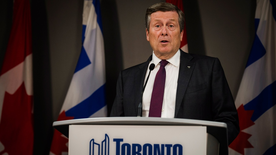 Toronto Mayor John Tory speaks to the media at Toronto city hall on Friday, July 27, 2018. (Christopher Katsarov / THE CANADIAN PRESS)