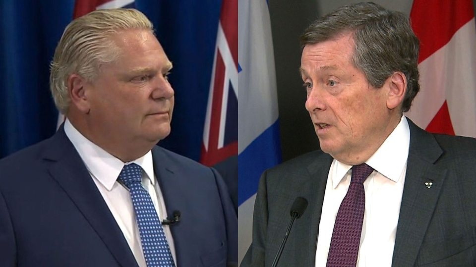 In separate news conferences, Premier Doug Ford and Toronto Mayor John Tory address Ford's decision to slash the number of councillors at city hall.