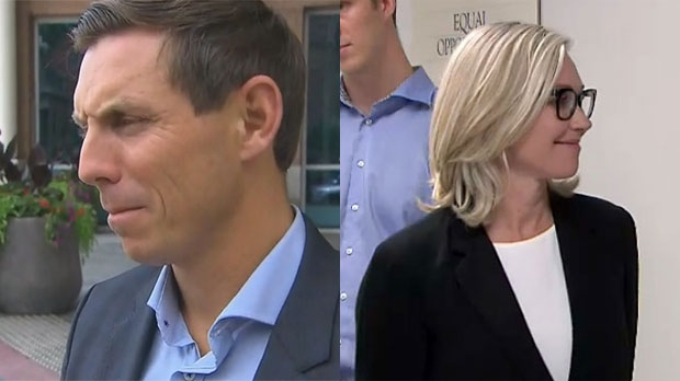 Patrick Brown speaks with media after entering the mayor's race at Brampton city hall, while Jennifer Keesmaat stands in line to file her nomination papers at Toronto city hall, on Friday, July 27, 2018.