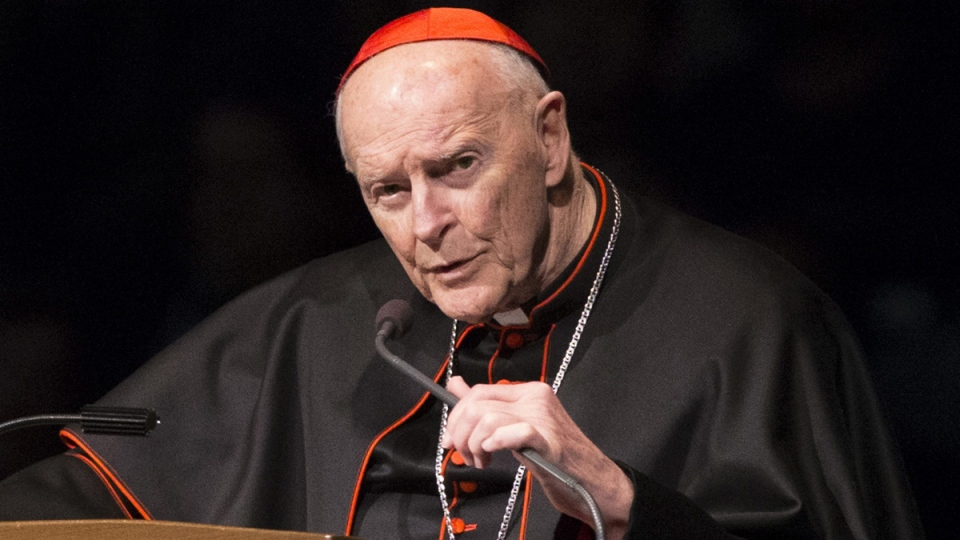 Cardinal Theodore Edgar McCarrick speaks during a memorial service in South Bend, Ind., on March 4, 2015. (Robert Franklin/South Bend Tribune via AP, Pool, File)
