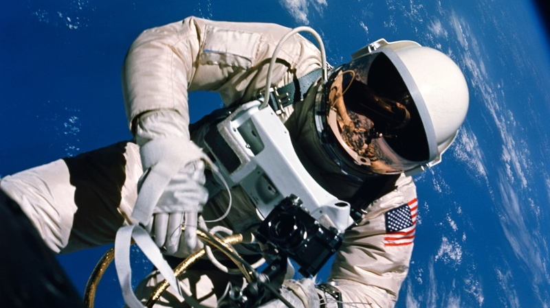This file NASA handout photo taken during the Gemini 4 mission on June 3, 1965, shows Ed White who became the first American to conduct a spacewalk. NASA is celebrating its 60th anniversary. The National Aeronautics and Space Act, creating NASA, was signed into law by US President Dwight D. Eisenhower on July 29, 1958. (HO / NASA / AFP)