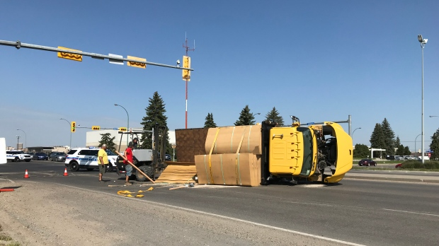 Truck Hauling Lumber Tips Over On Victoria Ave Ctv News
